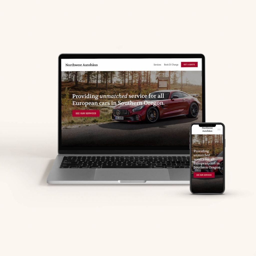 Mobile friendly website design for European car mechanic in Medford, Oregon.
