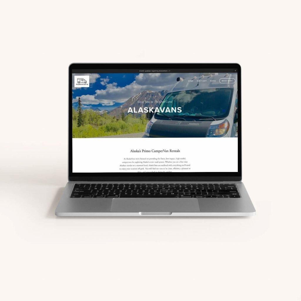 A search engine optimized website designed for a camper van rental business in Anchorage, Alaska.
